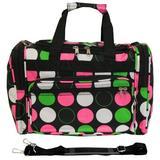 "World Traveler Polka Dot 16"" Shoulder Duffel Nylon/Polyester in Black, Size 11.5 H x 16.0 W x 10.0 D in   Wayfair 81T16-544"