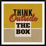 Naxart Think Outside the Box - Picture Frame Textual Art Print on Paper Paper in Brown/Yellow, Size 42.0 H x 42.0 W x 1.5 D in   Wayfair
