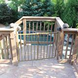"Cardinal Gates Stairway Special Outdoor Safety Gate, Wood in Brown/Dark Wood, Size 29""H X 27""-42""W 