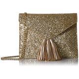 Amazon Brand - The Fix Izzi Glitter Envelope Clutch with Chain Crossbody Strap, Gold