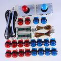 Reyann LED Arcade DIY-Teile Bündel 2 x Nullverzögerungs USB Encoder + 2 x Arcade Joystick + 20 x LED-Leuchttaster für Himbeer-Pi 1 2 3 Retropie 3B -Projekt & Arcade Projekt Rot + Blau - Kits