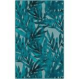 """Brumlow MILLS Oasis Tropical Leaf Trendy Rug for at Home Living, Dining, Kitchen or Patio Area, 2'6"""" x 3'10"""", Cerulean Blue (LW10268-30x46)"""
