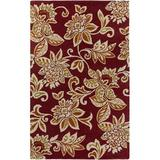 Charlton Home® Eberhard Floral Handmade Tufted Wool Red/Yellow Area Rug Wool in Brown/Red/Yellow, Size 156.0 H x 108.0 W x 0.3 D in | Wayfair