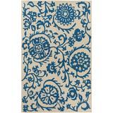 Winston Porter Aylor Floral Handmade Tufted Wool Dark Blue/Beige Area Rug Wool in Blue/Brown/White, Size 156.0 H x 108.0 W x 0.3 D in | Wayfair