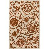 Winston Porter Aylor Floral Handmade Tufted Wool Red/Ivory Area Rug Wool in Brown/White, Size 96.0 H x 108.0 W x 0.25 D in | Wayfair