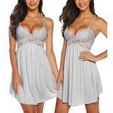 RSLOVE Women Sexy Lingerie Sleepwear Lace Chemises V-Neck Full Slip Babydoll Nightgown Dress Bride Dress Gray XL
