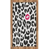 Ambesonne Safari Area Rug, Leopard Cheetah Animal Print Kiss Shape Lipstick Mark Dotted Trend Art, Flat Woven Accent Rug for Living Room Bedroom Dining Room, 2.6' x 5', Grey Pink