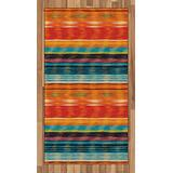 Lunarable Mexican Area Rug, Abstract Vibrant Vintage Aztec Motif Gradient Blurred Lines Ecuador Crafts Image, Flat Woven Accent Rug for Living Room Bedroom Dining Room, 2.6' x 5', Orange