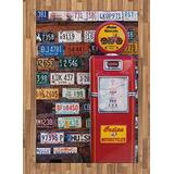 Lunarable Americana Area Rug, Various Old American License Plates Behind Antique Gas Pump in Rural Utah, Flat Woven Accent Rug for Living Room Bedroom Dining Room, 4' X 5.7', Red