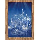 Ambesonne Music Area Rug, Water Musical Notes Bubbles Dancing Waves Fantasy More Than Real Theme, Flat Woven Accent Rug for Living Room Bedroom Dining Room, 4' X 5.7', Blue