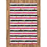 Lunarable Valentines Day Area Rug, Romantic Teenager Love Sign Hearts on Grunge Stripes Lines, Flat Woven Accent Rug for Living Room Bedroom Dining Room, 4' X 5.7', Pink White