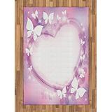 Lunarable Feminine Area Rug, Pink Butterfly Heart Romantic LoveTheme Violet Wedding Art, Flat Woven Accent Rug for Living Room Bedroom Dining Room, 4' X 5.7', Purple White