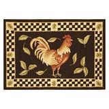 """Safavieh Vintage Poster Collection VP320A Handmade Rooster Novelty Premium Wool Accent Rug, 1'8"""" x 2'6"""", Black / Ivory"""