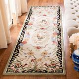 """Safavieh Chelsea Collection HK92A Hand-Hooked French Country Wool Runner, 2'6"""" x 10' , Cream / Black"""
