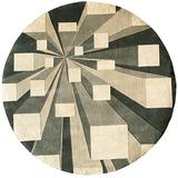 """Momeni Rugs New Wave Collection, 100% Wool Hand Carved & Tufted Contemporary Area Rug, 5'9"""" Round, Concrete Grey"""