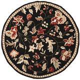 Surya Flor Transitional Hand Hooked 100% Wool Caviar 3' Round Floral Accent Rug