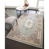Rugs America New Aubusson Area Rug, 4-Feet by 6-Feet, Light Green