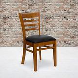 Flash Furniture 2 Pack HERCULES Series Ladder Back Cherry Wood Restaurant Chair - Black Vinyl Seat