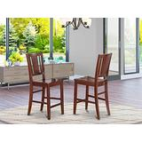 East-West Furniture Buckland counter height chairs - Wooden Seat and Mahogany Hardwood Frame counter height dining chairs set of 2