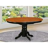 East West Furniture Butterfly Leaf Oval Dining Table - Cherry Table Top and Black Finish Pedestal Legs Solid wood Frame Wood Kitchen Table