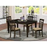 East West Furniture CAP5S-CAP-C Dining Table Set, Microfiber Upholstered Seat, Cappuccino Finish