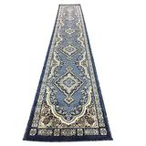 emirates Traditional Long Runner Oriental Rug Blue Persian Design 520 (31 Inch X 9 Feet 10 Inch)