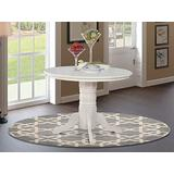 East West Furniture Shelton Wood Kitchen Table-Linen White Table Top and Linen White Pedestal Legs Hardwood Structure Wood Table