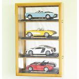 1/18 Scale Diecast Car Model Display Case Cabinet Holds 4 Cars (Oak Finish)