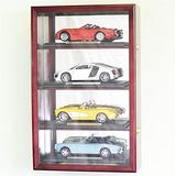 1/18 Scale Diecast Car Model Display Case Cabinet Holds 4 Cars (Cherry Finish)