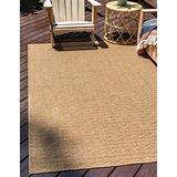Unique Loom Outdoor Modern Collection Striped Casual Transitional Indoor and Outdoor Flatweave Light Brown Area Rug (2' 2 x 3' 0)
