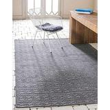 Unique Loom Outdoor Modern Collection Striped Casual Transitional Indoor and Outdoor Flatweave Gray Area Rug (5' 3 x 8' 0)