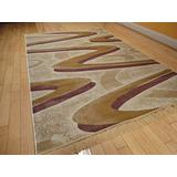 Silk Modern Rugs Ivory 5x8 Bedroom Area Rugs Wavy Rug 5x7 Contemporary Rugs for Living Rooms (Medium 5'x8')