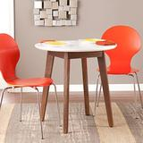 SEI Furniture Oden Two-Tone Small Space Round Dining Table, White, Burnt Oak