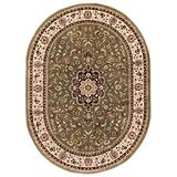 """Noble Medallion Green Persian Floral Oriental Formal Traditional Area Rug 5x7 ( 5'3"""" x 6'10"""" ) Easy to Clean Stain Fade Resistant Shed Free Modern Contemporary Transitional Soft Living Dining Room Rug"""