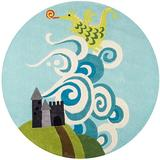 Momeni Lil Mo Whimsy Collection Area Rug, 5' x 5' Round, Sky