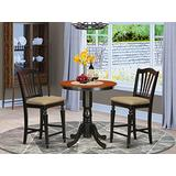 East West Furniture EDCH3-BLK-C Dining Set 3 Pc - Linen Fabric Dining Chairs Seat – Black & Cherry Finish Wooden Table and Frame
