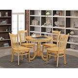 East West Furniture ANGR5-OAK-W Modern Dining Table Set- 4 Fantastic Wooden Dining Chairs - A Beautiful Round Wooden Dining Table- Wooden Seat and Oak Round Dining Table