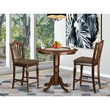 East West Furniture JACH3-MAH-C 3-Piece Dining Room Set - Round Top Dining Table - 2 Dining Room Chairs Slatted Back and Linen Fabric Seat (Mahogany)