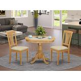 East-West Furniture ANAV3-OAK-C modern dining table set- 2 Fantastic dining room chairs - A Beautiful kitchen table- Linen Fabric seat and Oak Finnish Dining Table
