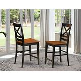 East-West Furniture Quincy counter height chairs - Cherry Wooden Seat and Black Hardwood Frame counter height bar chairs set of 2