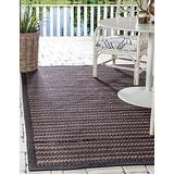 Unique Loom Outdoor Border Collection Striped Casual Transitional Indoor and Outdoor Flatweave Brown Area Rug (4' 0 x 6' 0)