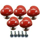 Ltvystore 5Pack Red Ceramic Heart Cabinet Knobs,Drawer Pulls & Handles Set,Ceramic Heart Shape Knobs for Door Dresser Drawer Cupboard Baby Kid's Children's Furniture with Screws