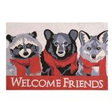 C&F Home Welcome Friends Racoon Bear Wolf Red Camping Rustic Forest Lodge Holiday Wool Handcrafted Premium Hooked Indoor Area Rug 2'x3' Gray