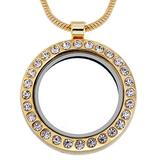 RUBYCA Living Memory Round Locket Snake Chain Necklace Crystal Floating Charm DIY Gold Tone 10Pcs
