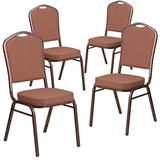Flash Furniture 4 Pk. HERCULES Series Crown Back Stacking Banquet Chair in Brown Fabric - Copper Vein Frame