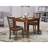 3 Pc Dinette Table set with a Dining Table and 2 Dining Chairs in Mahogany