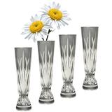 """GAC Decorative Crystal Glass Bud Vase for Flowers, 6"""" Set of 4 Small Bud Vases, Exquisite High Class Clear Crystal"""