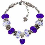 September Birthstone Charm Bracelet With European Bead Charms For Women and Girls, Stainless Steel Rope Chain, Power 7 Inch