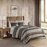 3 Piece Tan Brown Plaid Quilt King Set Cal King, Log Cabin Bedding Grey Southwest Solid Color Cottage Lodge Themed Hunting Taupe Lumberjack Pattern Tartan Patchwork Western Colors, Southwestern Cotton