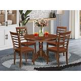 5 Pc set with a Round Dinette Table and 4 Leather Kitchen Chairs in Mahogany